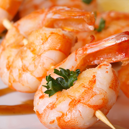 Skewered fresh jumbo shrimp