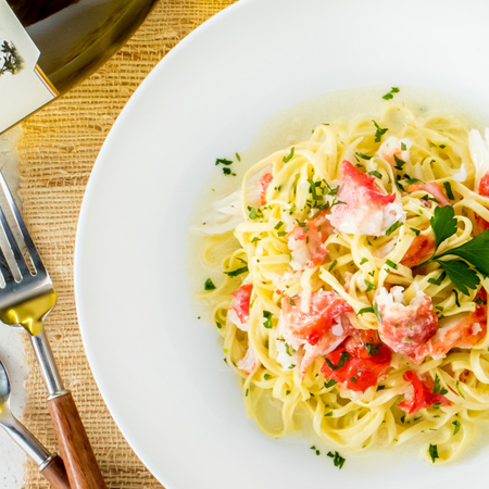 King crab atop garlicky linguine with creme fraiche
