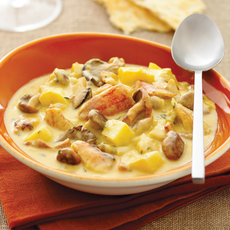 A hearty & chunky Dungeness crab chowder with wild mushrooms