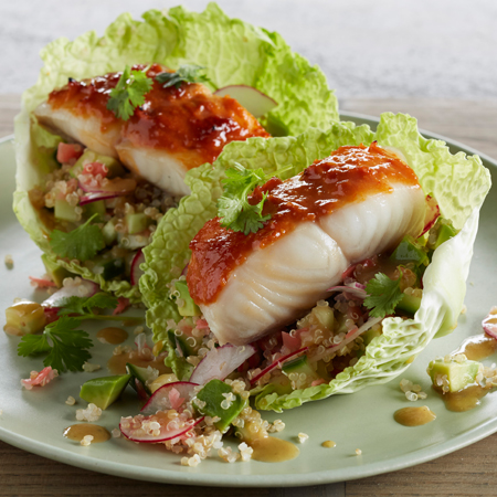 Alaska black cod portions in lettuce cups glazed with a spicy sauce