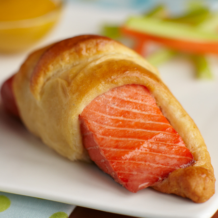 A sockeye salmon fillet wrapped in a crescent roll