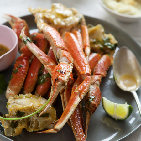 Roasted snow crab legs with lime chipotle
