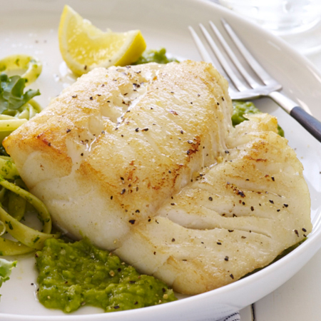 Pan seared cod fillet with minted pea puree and pasta