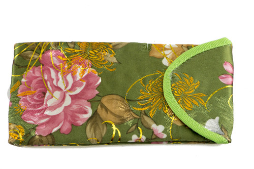 asian inspired floral scroll prints with sheen hints black, red, blue, green (green shown here)