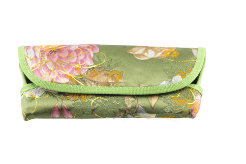 Asian inspired floral scroll prints with sheen hints in 4 colors. black, red, blue, green (shown in green)