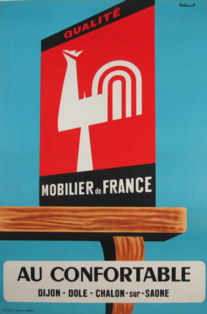 Qualite Mobielier de France Au Confortable original 1960 vintage  poster by artist Bernard Villemot.