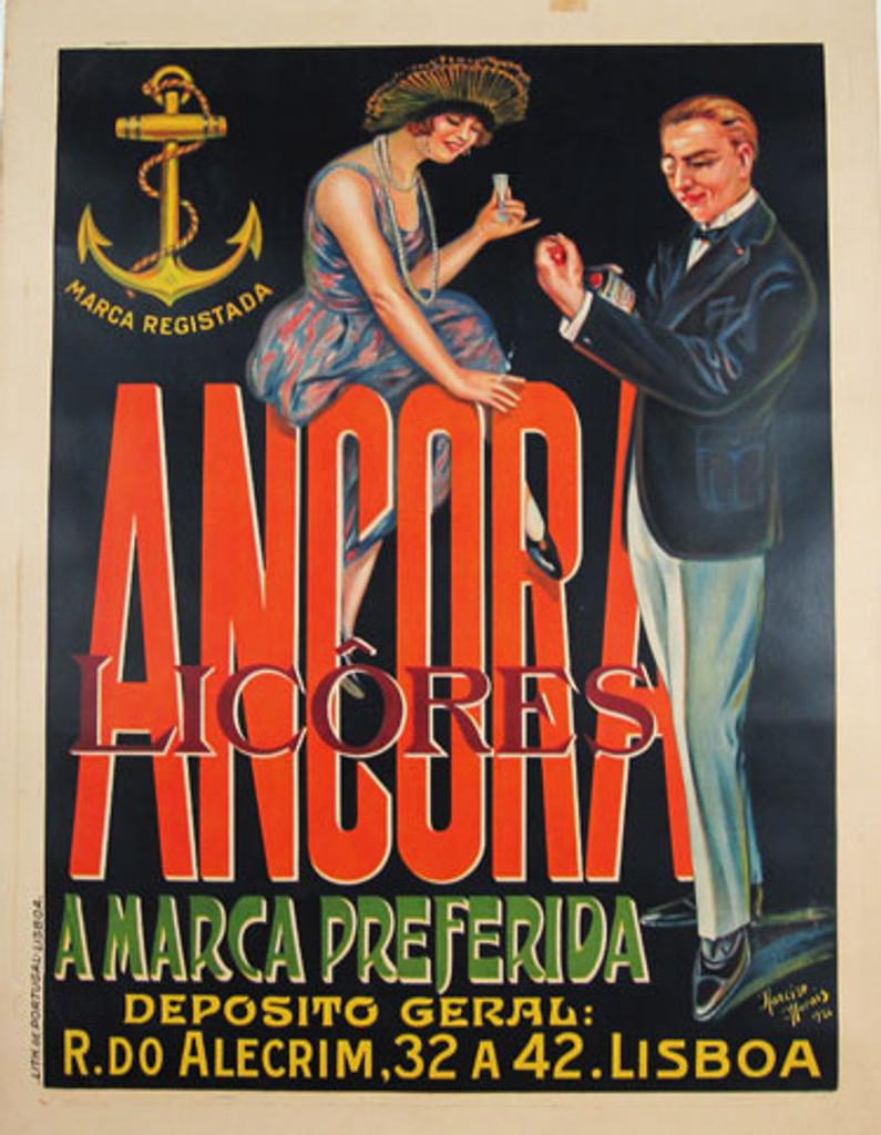 Ancora Licores original vintage Portugal liqueur poster from 1926 by artist Morais.