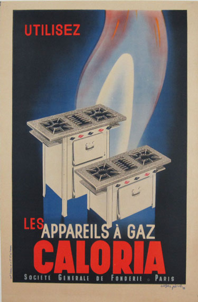 Caloria Gaz Perot original vintage poster from 1935 by Roger Perot.
