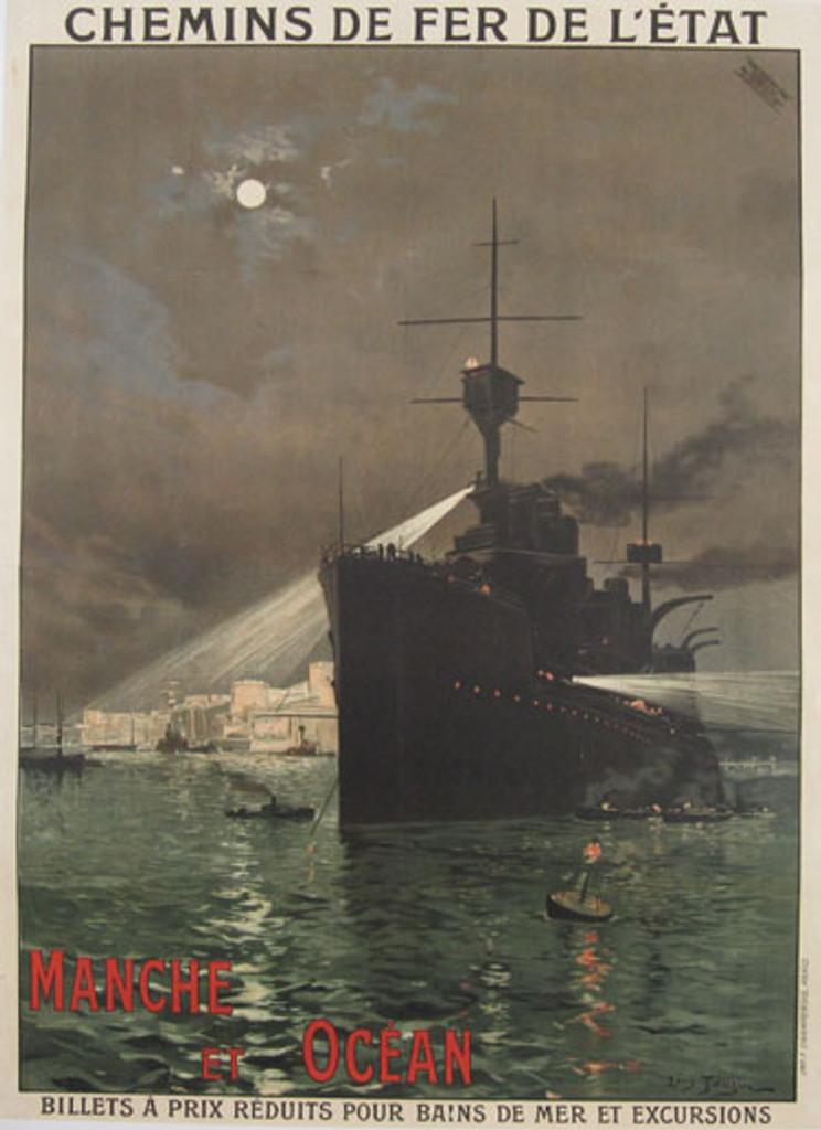 Manche et Ocean original vintage travel poster by Louis Tauzin circa 1910.