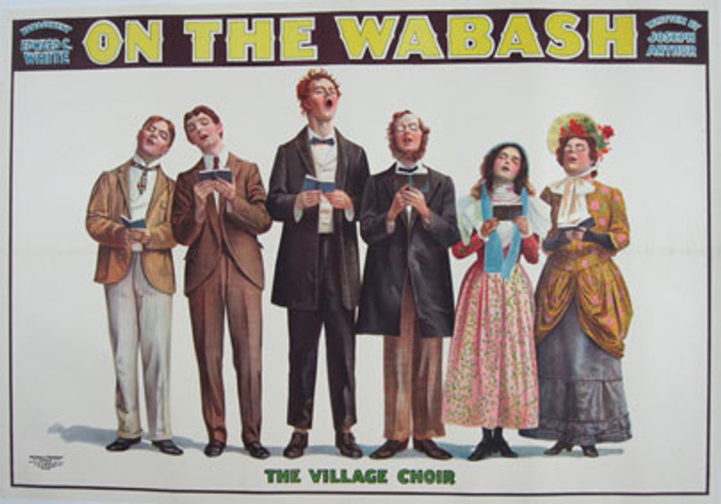 On The Wabash The Village Choir original vintage poster from 1898 by Russell Morgan. American horizontal advertisement features singing performers.