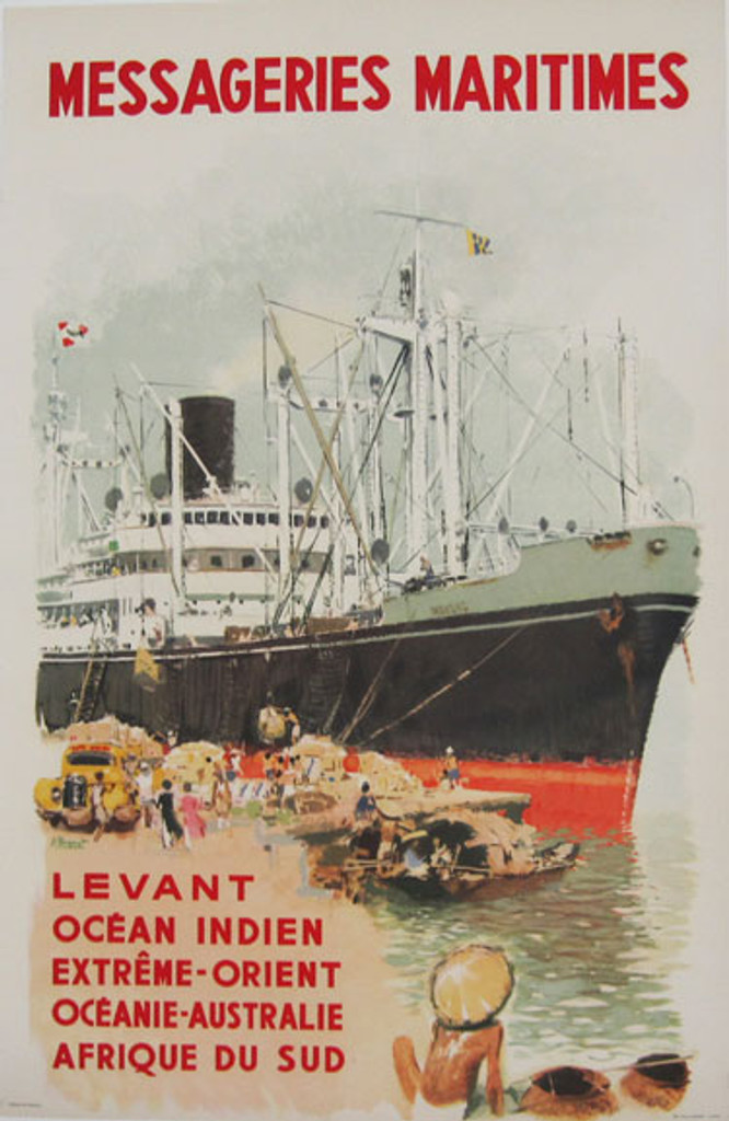 Messageries Maritimes Levant Ocean Indien Extreme - Orient. Original vintage travel poster from 1950 France by artist A. Brenet.