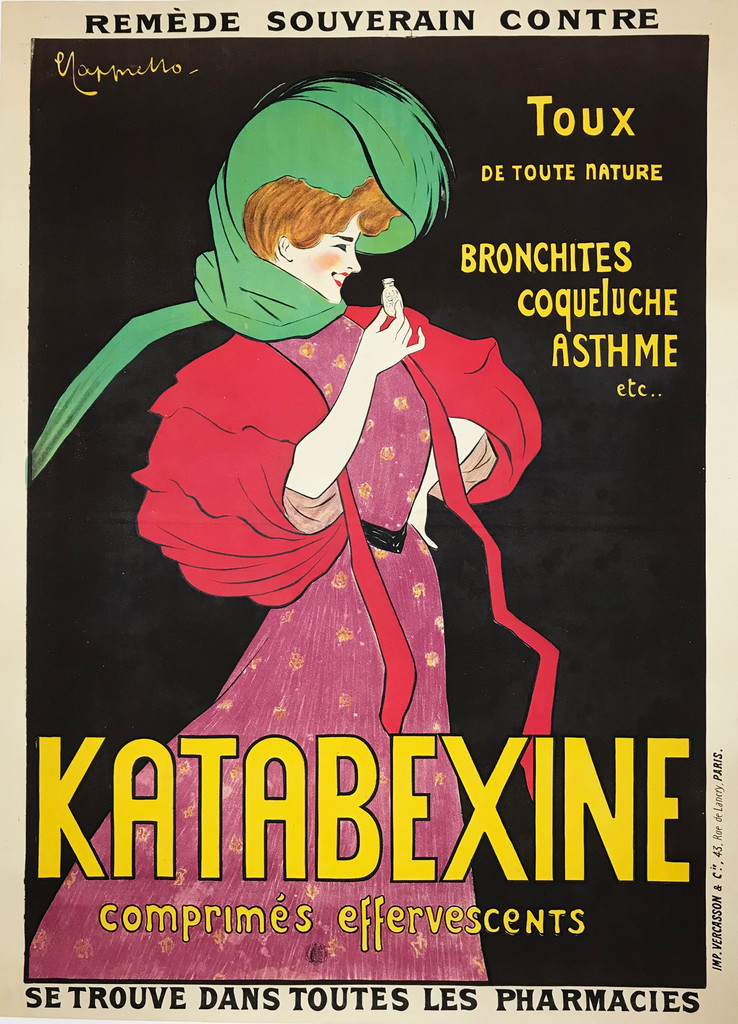 Katabexine original vintage poster by Leonetto Cappiello from 1903. French poster advertising cough medicine, shows a women in a pink and red dress with a green scarf and she is holding a medicine bottle.
