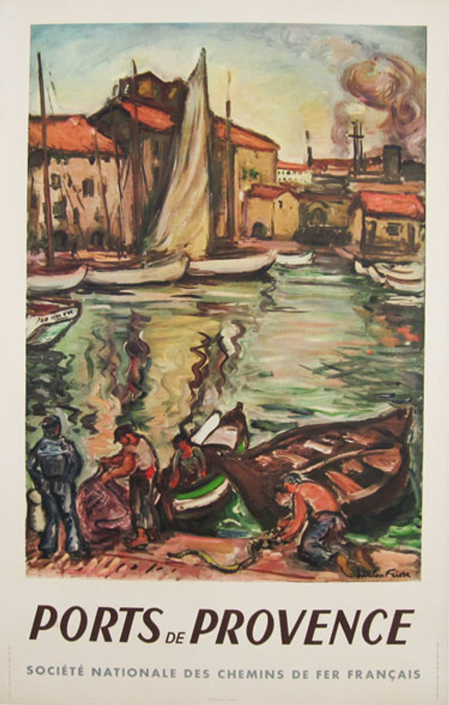 Ports De Provence original advertising lithography vintage poster by Othon Friehz from 1949 France.