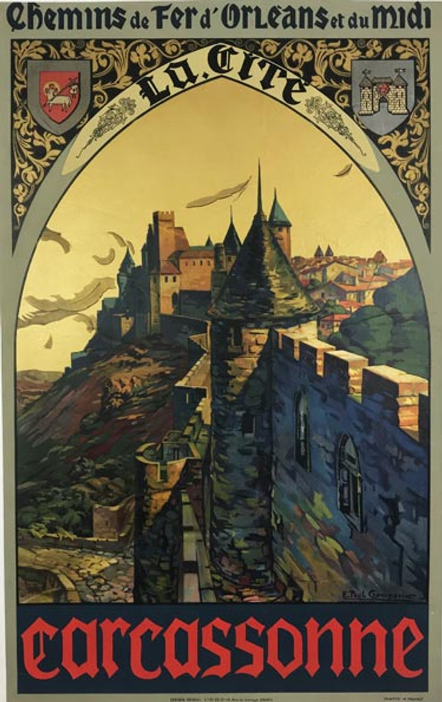 Carcassonne original 1925 advertisement lithography vintage poster by E. Paul Champseix from France.
