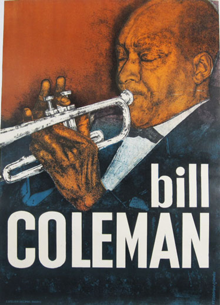 Bill Coleman original advertising lithography vintage poster by Francis Paudras from 1962 France. Shows a jazz trumpeter playing on his instrument.