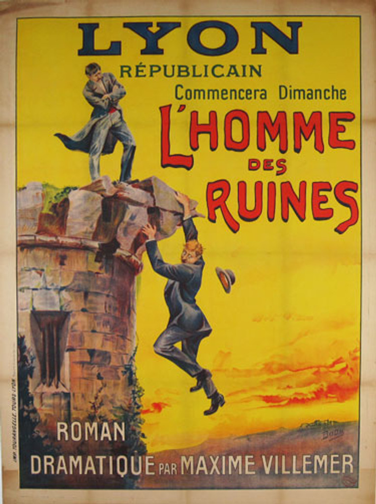 L Homme Des Ruines original advertising lithography antique poster by Bodu from 1904 France.