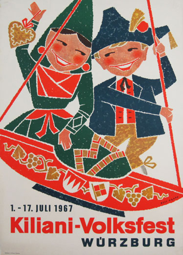 Kiliani Volksfest Wurzburg original advertising lithography vintage poster by Ossi Krapf from 1967 Germany.