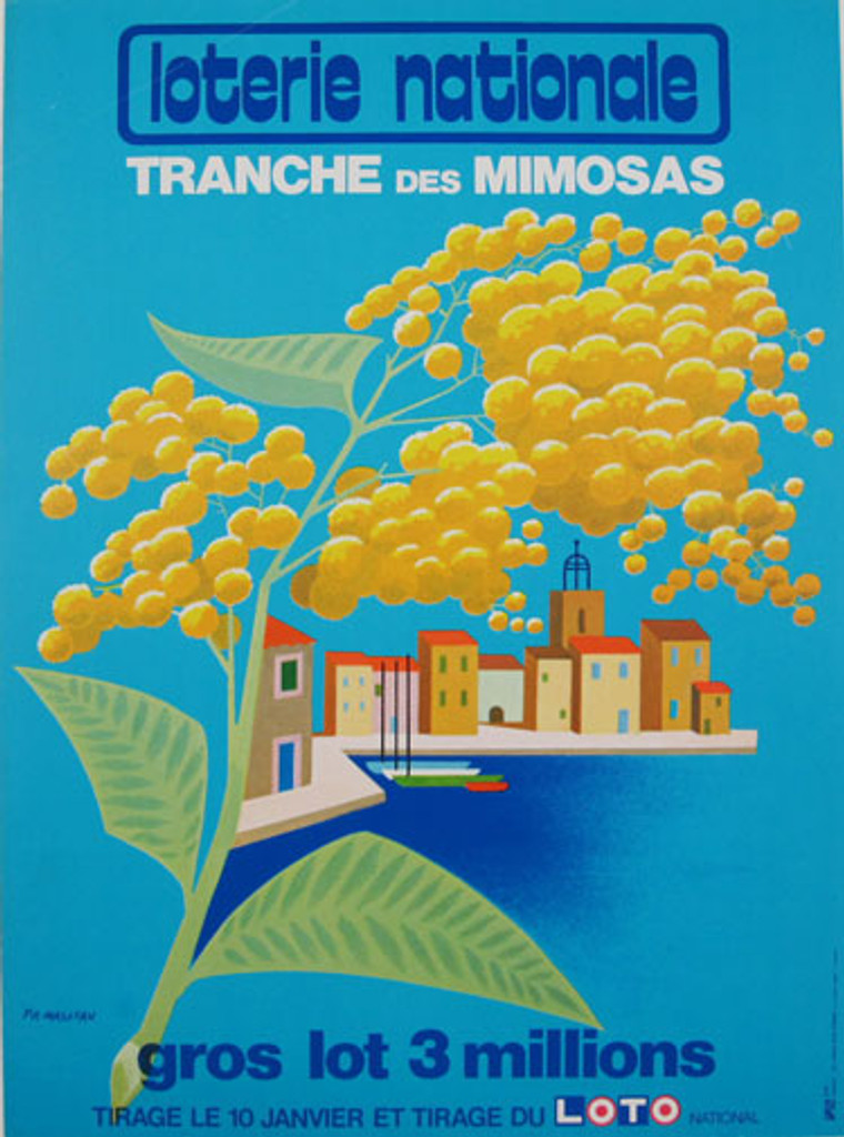 Loterie Nationale Tranche Des Mimosas original 1968 advertisement plate lithograph antique poster by Fix Masseau from France.