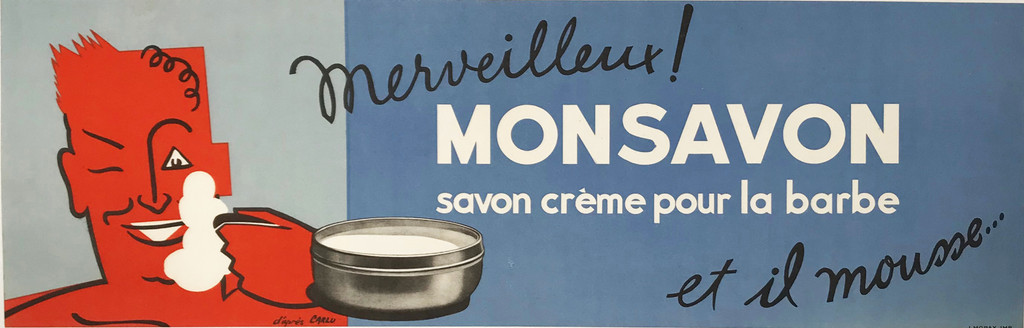 Monsavon original advertising lithography horizontal vintage  poster by Jean Carlu from 1950's France.