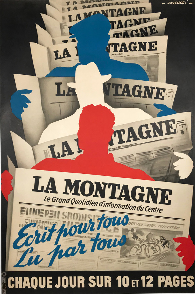 La Montagne original advertising lithography vintage poster by Falcucci Circa 1930. French poster shows a three figures of men who read the newspaper La Montagne on black background.