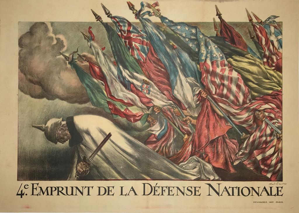 4e Emprunt De La Defense Nationale original advertising lithography war bonds vintage poster by Faivre.