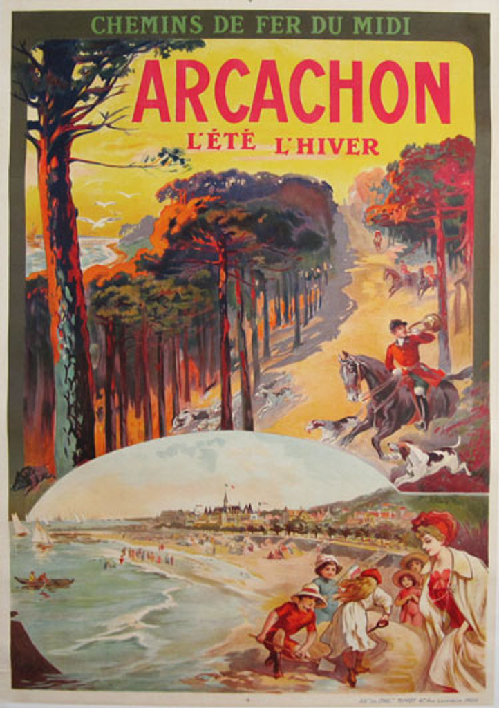 Arcachon original advertising lithography travel antique poster by Tamagno from France.