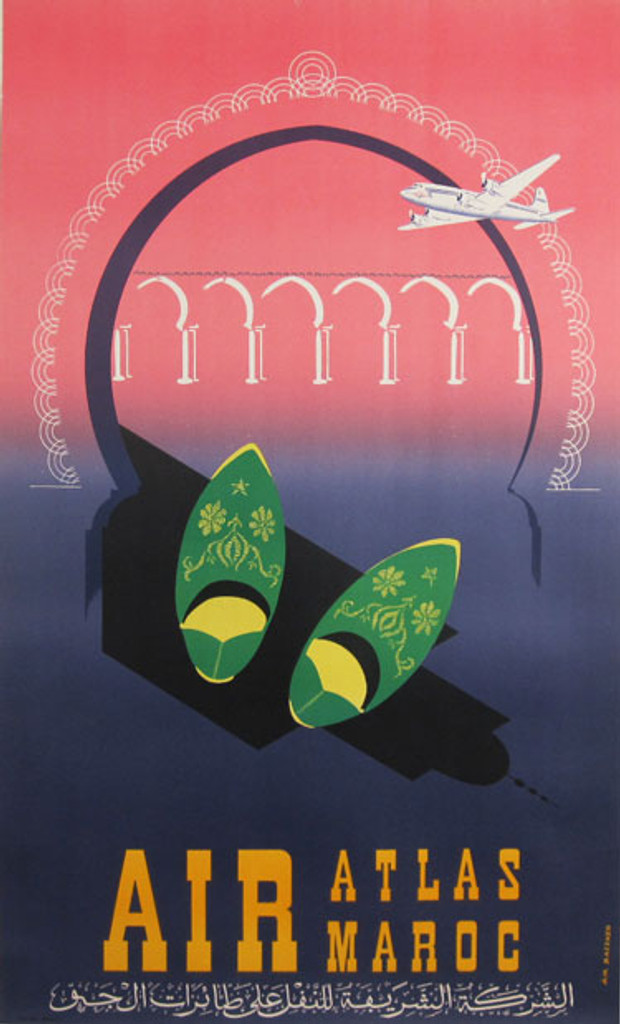 Air Atlas Maroc original advertising lithography vintage poster by Baezner.
