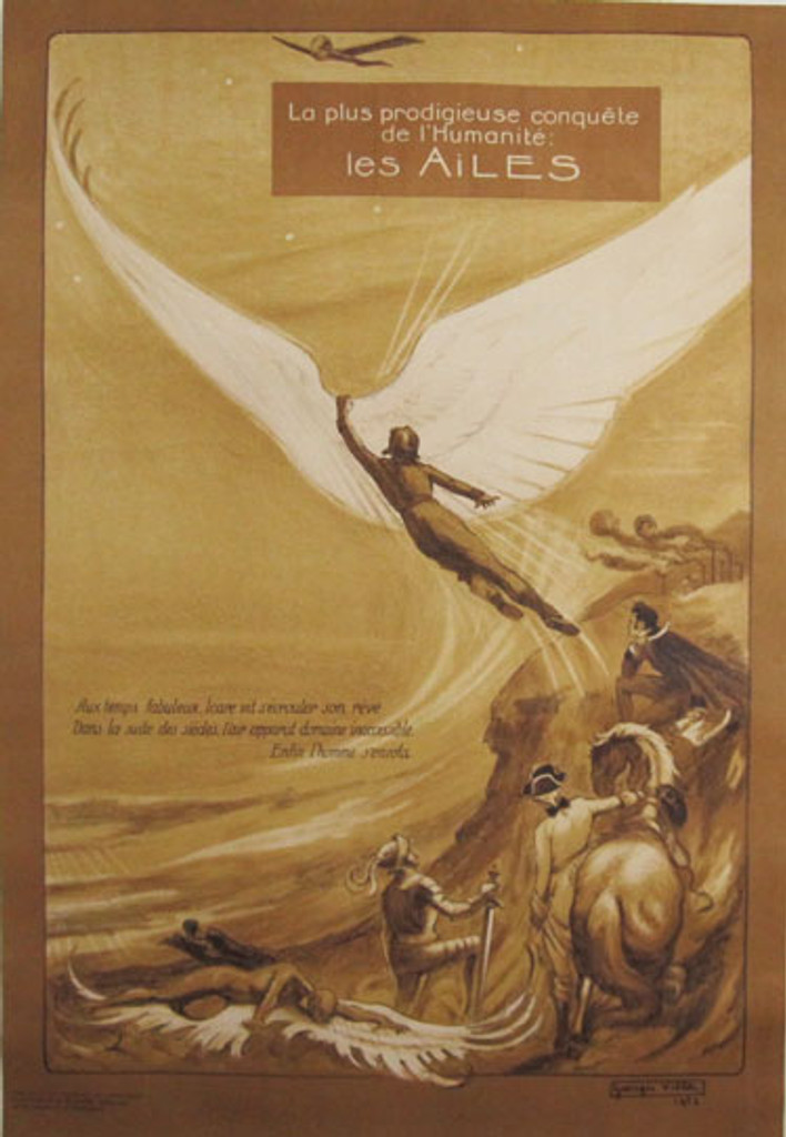 Les Ailes original advertising lithography antique poster by Georges Villa from 1922 France.
