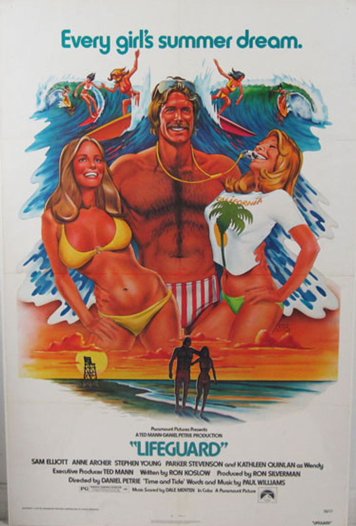 Lifeguard original advertising lithograph movie vintage poster by R. Huyssen from 1976 USA.