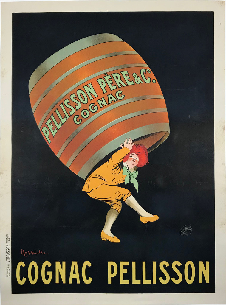 Cognac Pellisson Original French 1905 Vintage Poster by Leonetto Cappiello.  French cognac advertisement features a Impf carrying a large barrel on his back.....dressed in yellow, can barely hold the huge barrel which pops off the black background