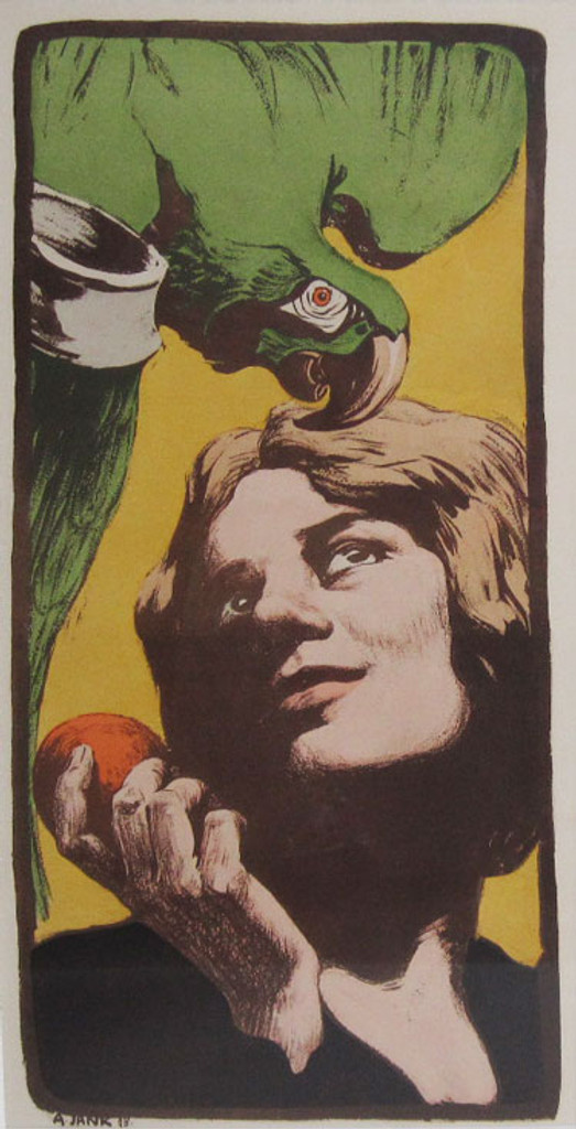 Woman with the parrot original advertisement lithography vintage poster by Jank from 1898 France. Shows a woman holding an apple with a parrot on top in right corner