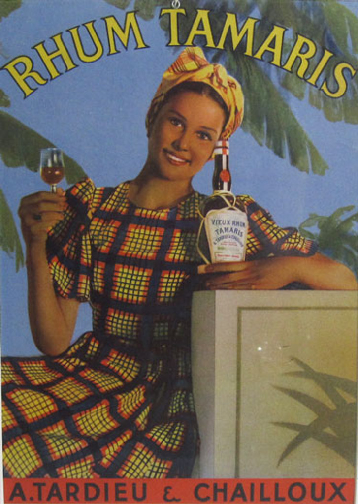 Rhum Tamaris original advertising lithography antique poster from 1948 France. Shows a Caribbean woman holding a bottle and glass of rum with palm trees behind her.