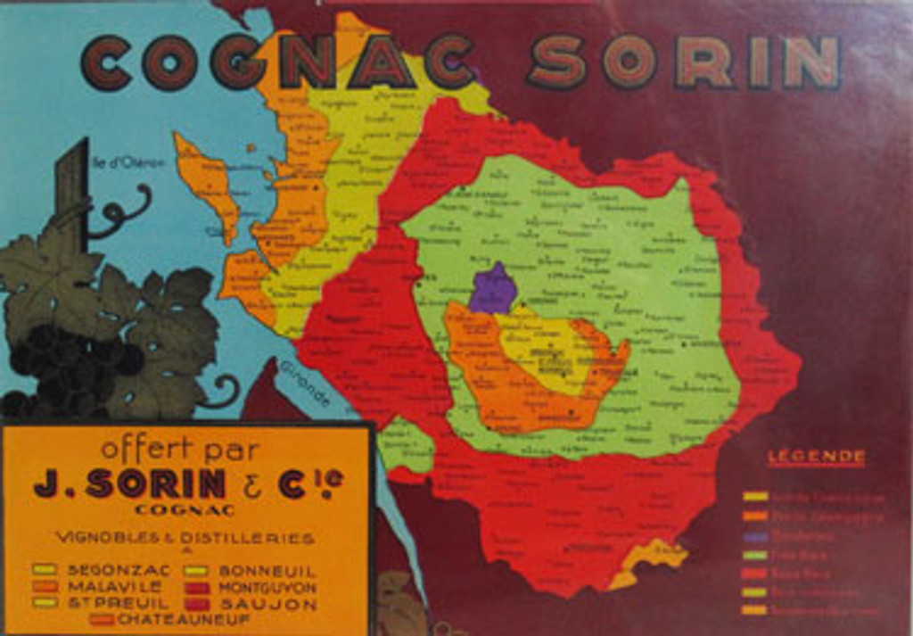 Cognac Sorin original advertising lithograph vintage poster by J. Sorin & Co. from 1930 France.