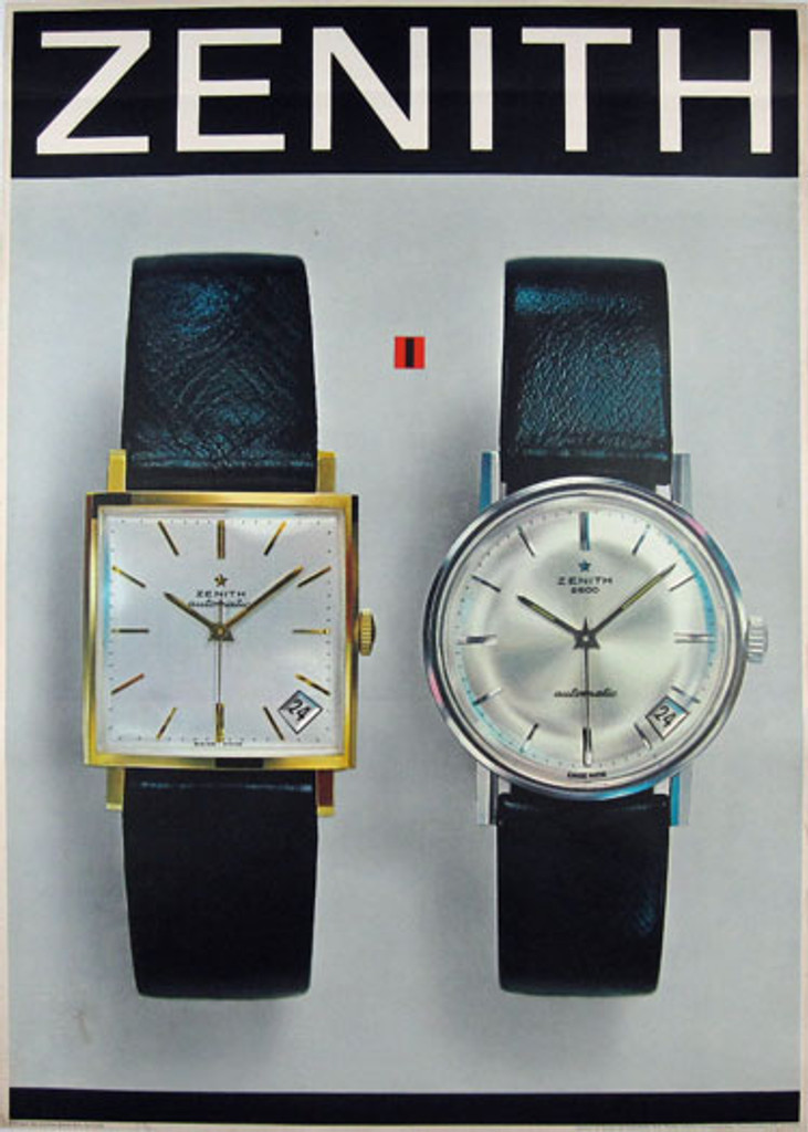 Zenith original 1965 Swiss watches advertisement vintage poster. Two men's watches one is gold and second is platinum.