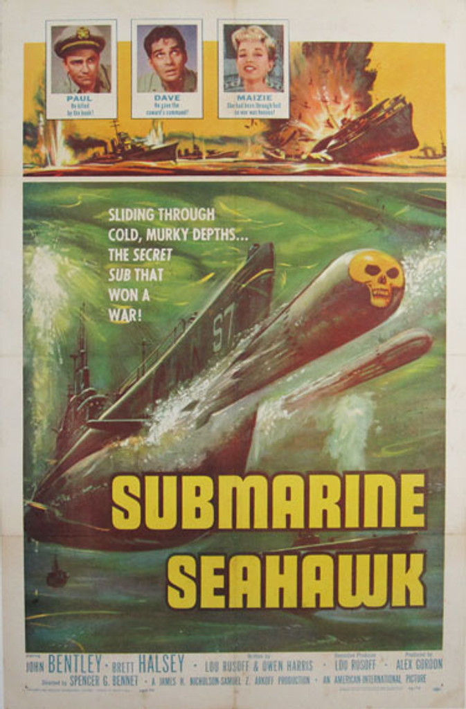 Submarine Seahawk original American vintage movie poster from 1959 USA. John Bentley, Brett Halsey, Wayne Heffley, Spencer Gordon Bennet great actors played in this war movie.