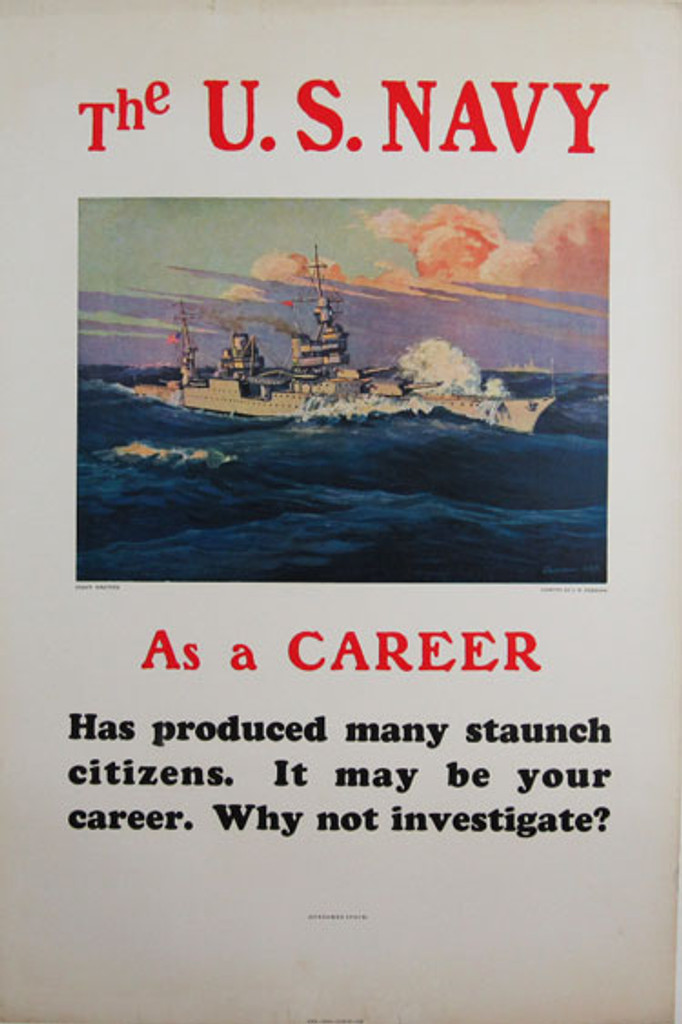 The U.S. Navy As A Career original American vintage war poster from 1935 by artist J.W. Burbank. WWII antique advertisement with large warship / steamer ship on the ocean.