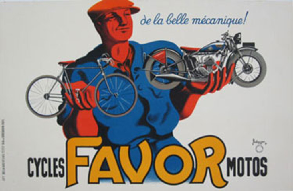 Favor Cycles Motos horizontal vintage transportation poster by Bellenger from 1937 France. Original Bicycles Motorcycles Posters. Shows a man dressed in blue holding a bicycle in one hand and motorcycle in the other.