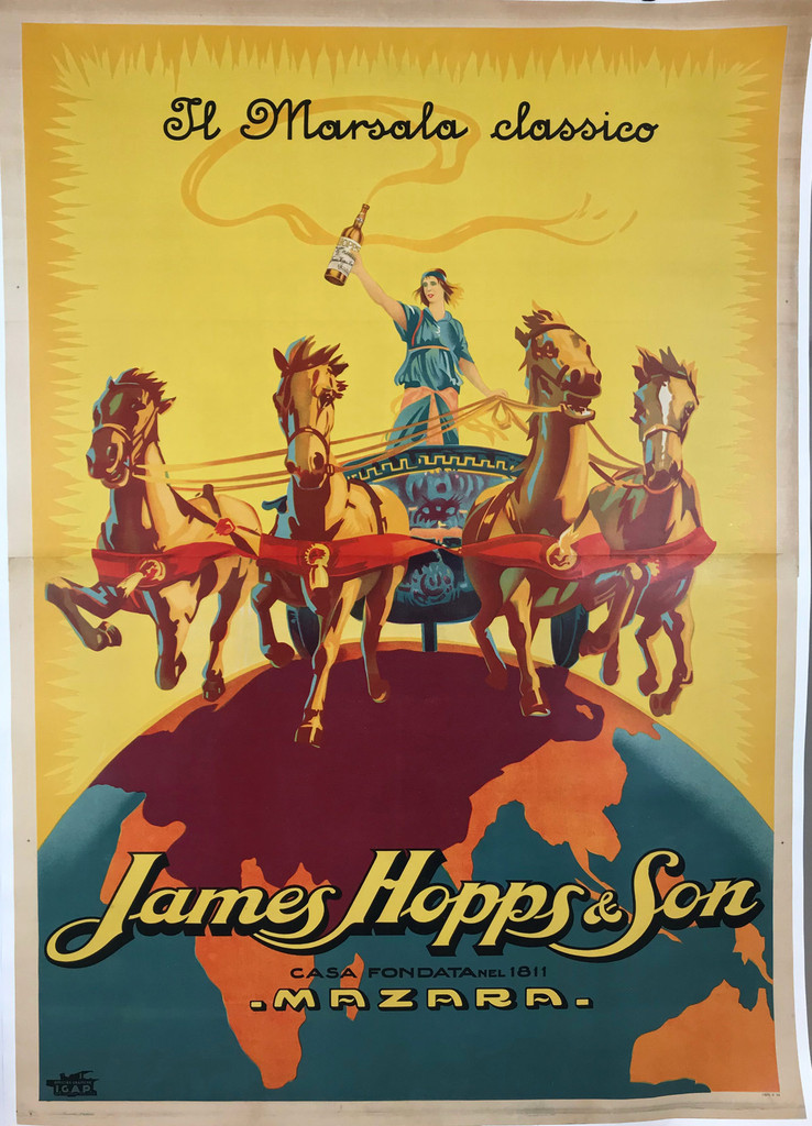 James Hopps and Son original advertisement lithography vintage poster from 1923 Italy. Shows a chariot driver with four horses riding over the globe against a yellow background.