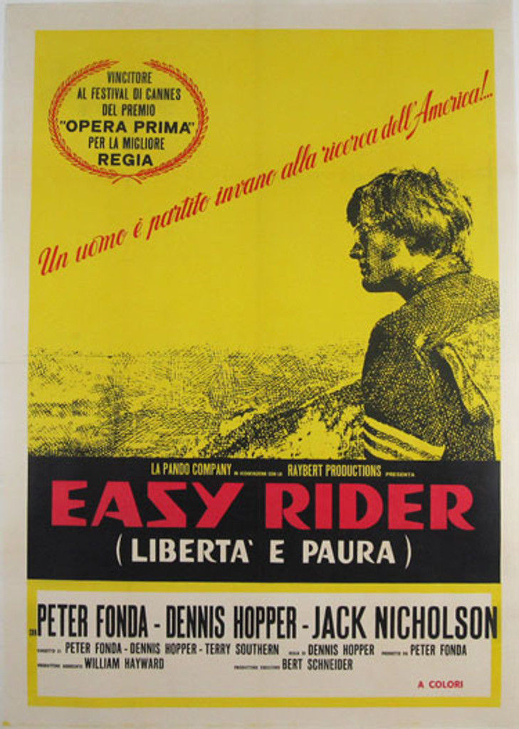 Easy Rider original Italian vintage movie poster with Peter Fonda, Dennis Hopper and Jack Nicholson.