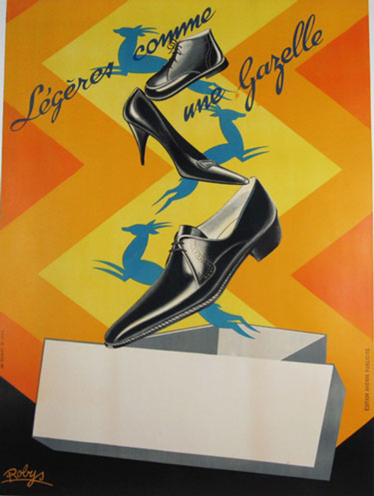 Legeres Comme Une Gazelle French shoes advertisement from 1935 France. Original art deco antique poster by famous artist Robys.