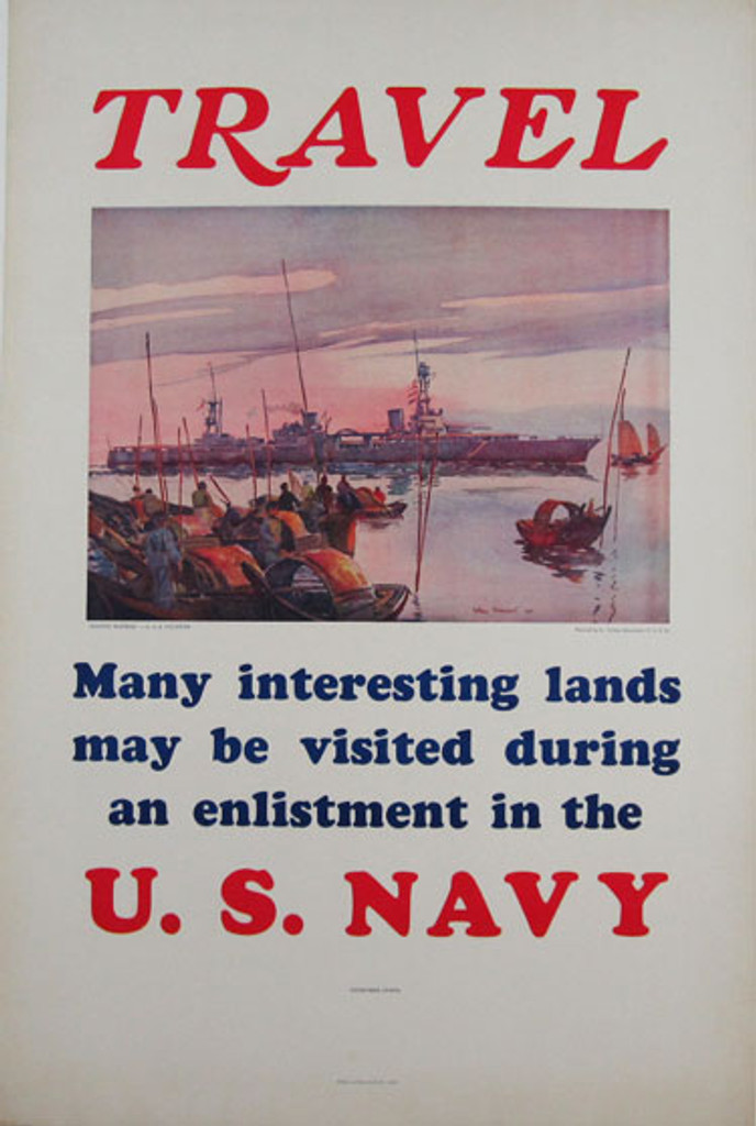 Travel many interesting lands may be visited during an enlistment in the U.S. Navy. Original American ww2 vintage poster from 1935 U.S.A. by artist Arthur Beaumont. Large warship on a white background.