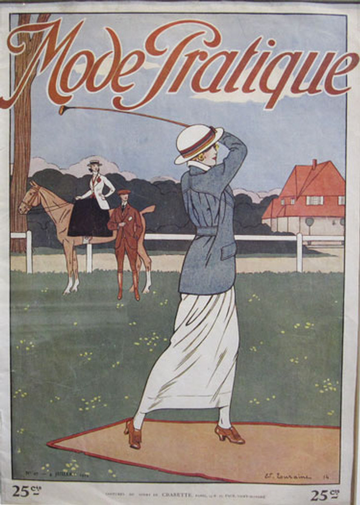 Mode Pratique Complete Magazine original vintage golf advertisement from 1914 France by Touraine.