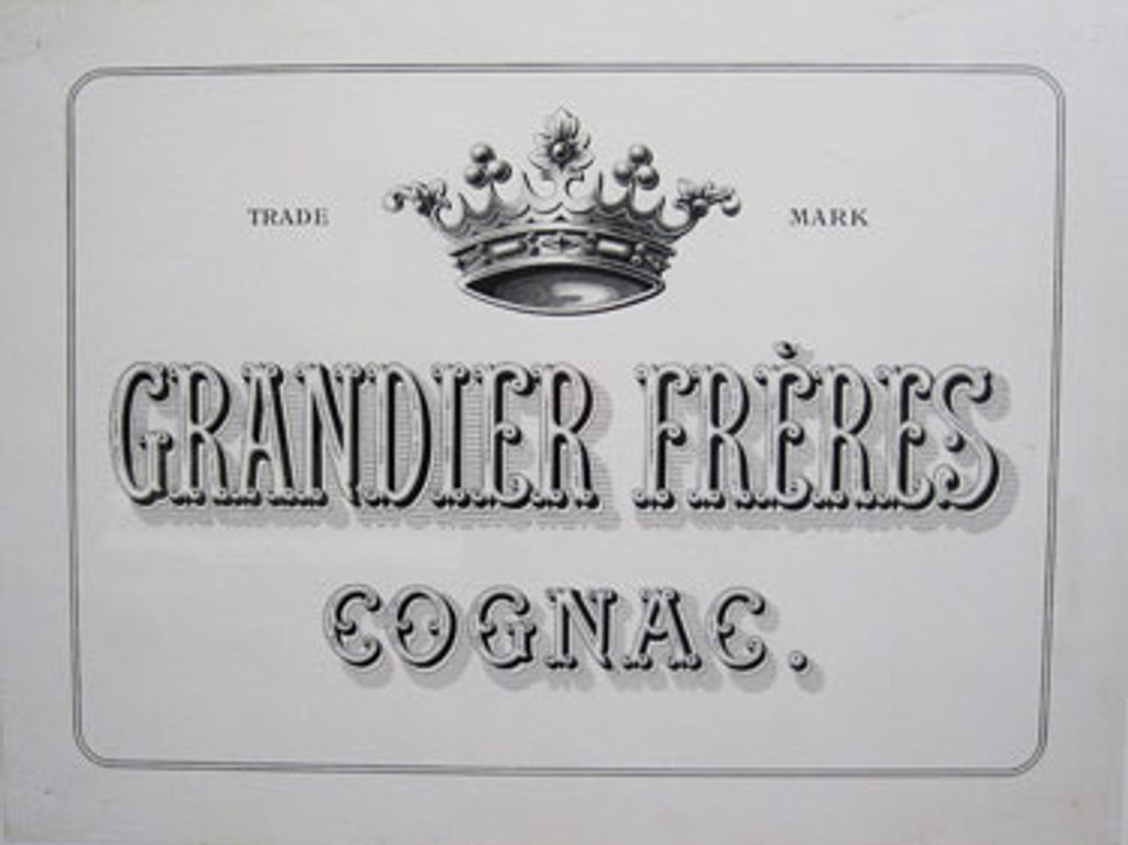 Grandier Freres Cognac original advertisement lithograph vintage poster from 1910 France.