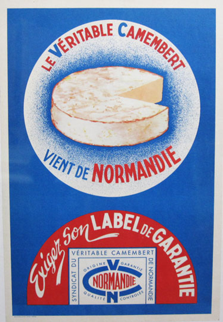 Vient De Camembert Normandie original advertisement lithography vintage poster from 1940 France. Shows a cheese on blue background.