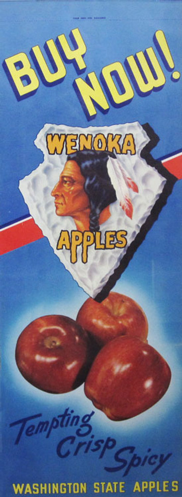 Wenoka Apples Buy Now! Washington State Apples tempting, crisp, spicy original poster from 1950 USA.