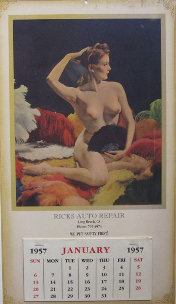 Ricks Auto Repair, We put safety first! American original offset lithograph from 1957. Pinup girl calendar, nude woman sitting, she is surrounded by feathers.