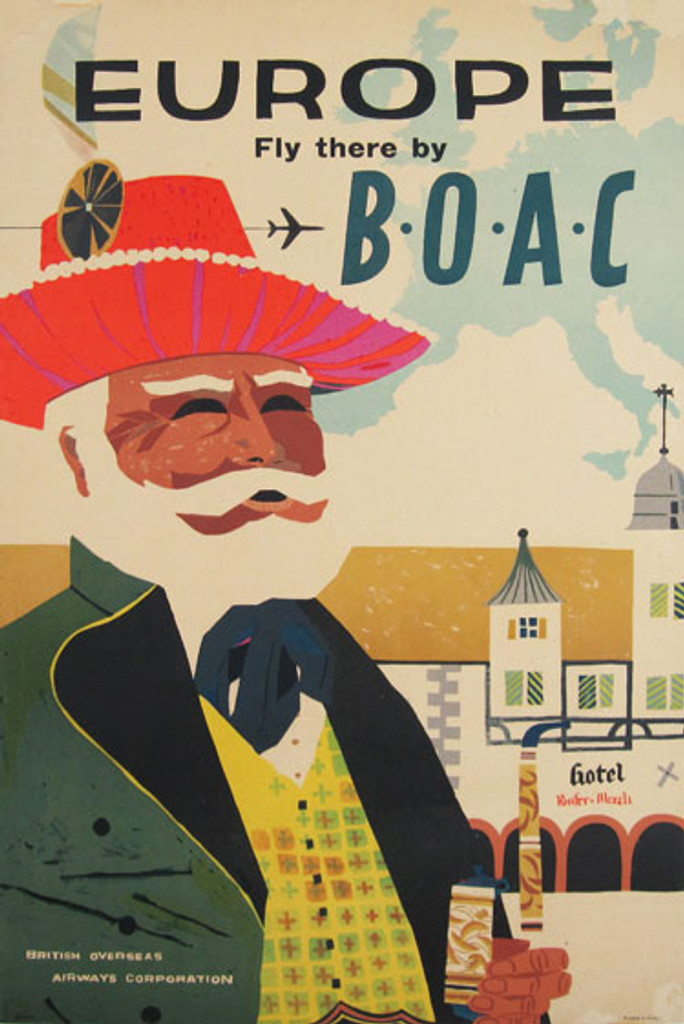 Europe Fly there by B.O.A.C. original travel advertising lithograph antique poster from England.