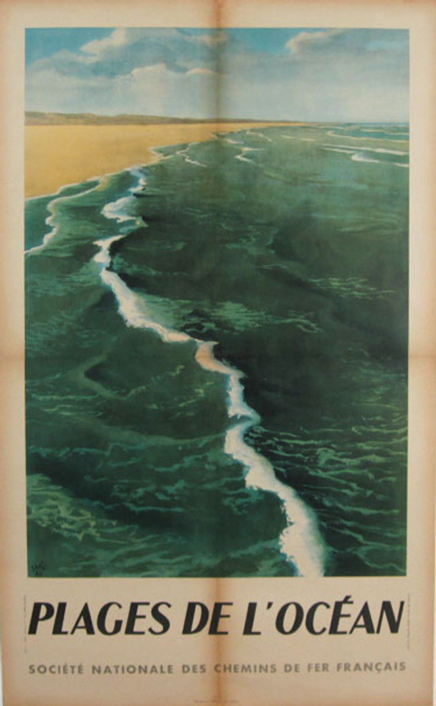 Plages De L'Ocean original advertising lithograph vintage poster by Jang from 1947 France. Shows a ocean with the beach.