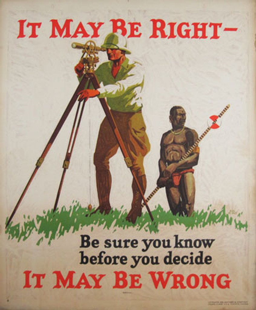 It May Be Right - It May Be Wrong original Mather Work Incentive poster by Hal Dupuy from 1929 USA