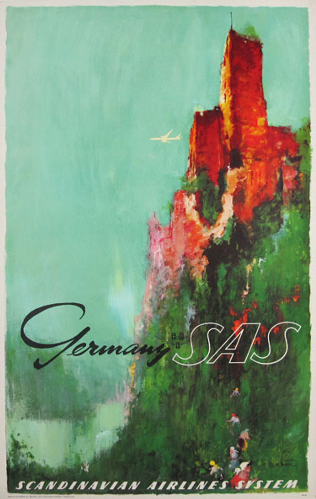 Scandinavian Airlines Germany SAS original vintage advertising lithograph travel poster by Otto Nielsen from 1962 Denmark.